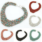 Bohemia Multi-layer Seed BeadsTwisting Cluster Choker Bib Long Pendant Necklace