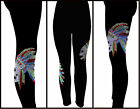 Plus One Size Leggings Embellished Rhinestone Skull Chief Feathers Fits XL - 3X
