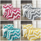 Chezmoi Collection Reversible Chevron Zig Zag Microfiber  Quilted Coverlet Set image