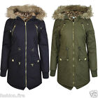 New Women Ladies Parka Padded jacket with Fur collar Hood Front Pockets UK 8-14