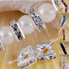 10pcs 6mm 8mm Square Silver Plated Crystal Loose Spacer Bead Women Jewelry DIY