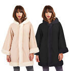 Boutique Womens Sleeved Cape New Ladies Button Up Faux Fur Trim Hooded Wrap