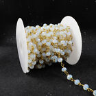 PRE-SALE 16Ft 5~6mm Manmade Opal Rondelle Rosary Beaded Chain Wire Wrapped JT025