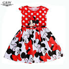 Minnie Mouse Princess Birthday Party Outfit Girls Dresses Red Dot Kids Clothing
