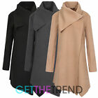 Womens Italian Single Breasted Coat Ladies Wrapover Asymetric Hem Wool Coat