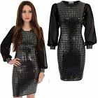 Ladies Chiffon Long Sleeve Sequin Sparkle Party Stretch Bodycon Mini Short Dress
