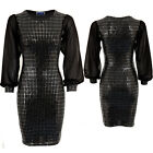 Womens Sequin Chiffon Long Sleeve Party Sparkle Bodycon Stretch Short Mini Dress