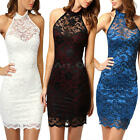 Women Girls Sexy Backless Halter Lace Cocktail Club Party Mini Pencil Dress