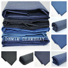 DENIM CHAMBRAY FABRIC 100% COTTON - navy indigo black BY THE METRE