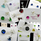 4mm Round BIRTHSTONE EARRINGS in SOLID Sterling Silver 925 Settings !