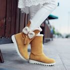 Plus Sz Women's Pull On Bowknots Flat Heel Snow Boots Riding Boots Casual Shoes