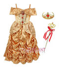 Disney Princess Belle Children Girls Gown Halloween Costume Dress 3-9 Year Tiara