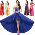 LUXURY Sexy Long Satin Sequins Prom Dresses Formal Party Evening Dress Ball Gown