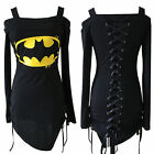 Batman Womens Off Shoulder Lace Up Jumper Tops Long Sleeve T Shirt Punk Blouse