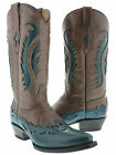 women's brown turquoise cowboy western leather ladies boots overlay rodeo riding