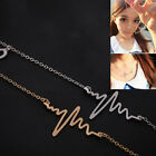Fashion EKG Heart Beat Necklace Simple Short Paragraph Chain Women Jewelry TBCA