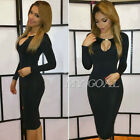 Sexy Women Long Sleeve Evening Cocktail Bodycon Slim Pencil Party Mini Dress