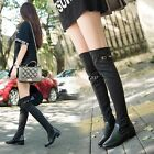 Womens Knee High Boots Pointy Toe Color Stitching Block Heel Pull On Party Shoes