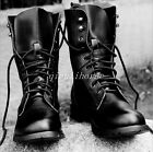 Military Men's Block Heel Lace Up Combat Riding Boots Motorcycle Casual Shoes Sz