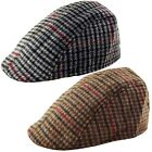 YOUTH - Kids Country Tweed Check Cabbie Golf Newsboy Flat Cap Hat - 52 - 54 cms