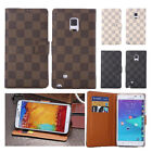 Luxury Grid Classic Plaid Pattern Leather Wallet Case For Samsung Galaxy LG G4