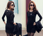 Sexy Women Dress Slim Lace Long Sleeve Crew Neck Tops Shirt Party Cocktail Dress