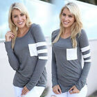 New Fashion Womens Ladies Casual Loose Tops Long Sleeve T-Shirt Summer Blouse