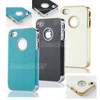 For iPhone 4 4S Ultra Thin Luxury Leather Chrome Hard Case Cover w/ Screen Film