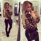 New Autumn Womens Chiffon Leopard Loose Long Sleeve Blouse Tee Shirt Casual Tops
