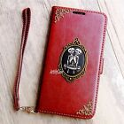 Twins Skull phone wallet Leather flip case Strap Stand cover For HTC one M8 M9