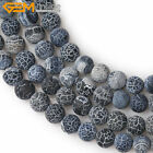 "Natural Stone Round Black Agate Onyx Beads For Jewelry Making 15"" Rough Matte"