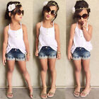 Fashion Baby Girls Clothing Set Whit Top Tee Shirt + Denim Lace Pants Suit 2Pcs