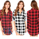 UK Women Ladies Casual T Shirt Plaid Checked Long Sleeve Shirt Loose Tops Blouse