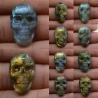 """22mm Carved labradorite skull cab cabochon 0.9"""" *each one pictured*"""