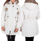 Bellfield Alness Womens Off White Quilted Parka Jacket With Hood