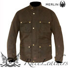 MERLIN ARMITAGE MENS BROWN WAX COTTON WATERPROOF MOTORCYCLE MOTORBIKE JACKET