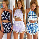 Sexy Ladies Two Pieces Set Striped Summer Jumpsuit Shorts Playsuit Party Dresses