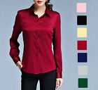 Women's Ladies 100% Pure Silk Business Career Dress Formal Shirts Blouse Tops