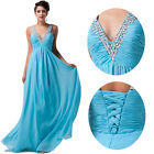 Long Summer Blue Formal Bridesmaid Evening Party Gown Prom Maxi Dress PLUS SIZE