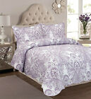 SOFT LAVENDER PURPLE LILAC PAISLEY COTTON QUILTED BEDSPREAD THROW