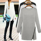 Autumn Winter Women Long Sleeve Top Blouse Zip T Shirt Casual Dress Pullover Tee