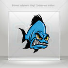 Sticker Decals Angry Blue Piranha Helmet Motorbike Bike Garage bike mtv XRX68