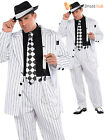 Adults Pimp Daddy Costume Mens Gangster Fancy Dress Bugsy 1970s Pinstripe Suit