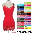 PLUS Women Basic Cami Camisole Lace Trim Spaghetti Strap Tank Top Tunic 1X 2X 3X