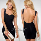 Fashion Women Bandage Wrap Dress Backless Stretchy Bodycon Party Dress HK