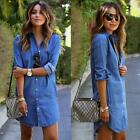 Women Casual Blouse Blue Jean Denim Cowboy Shirt Long Sleeve Tops Ladies Jacket