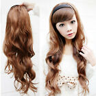 Long Curly Wavy 3/4 Half Wig With Headband Costume Hair Fall Natural Wear