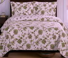 Oversized Bedspread Coverlet Reversible Quilted Green Floral 3 piece Bedding Set