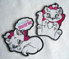 ÉCUSSON PATCH thermocollant - CHAT BLANC MARIE NOEUD ROSE