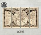Vintage style antique world map fabric Canvas Art Ready to Hang LARGE 4 panels